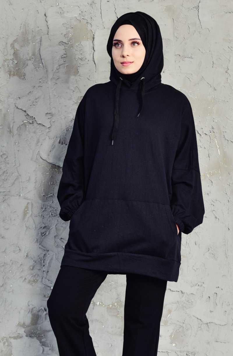 Sefamerve Tesettür Kapüşonlu Cepli Sweatshirt Modelleri