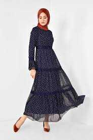 Alvina Puantiyeli Tesettür Tül Elbise Modelleri
