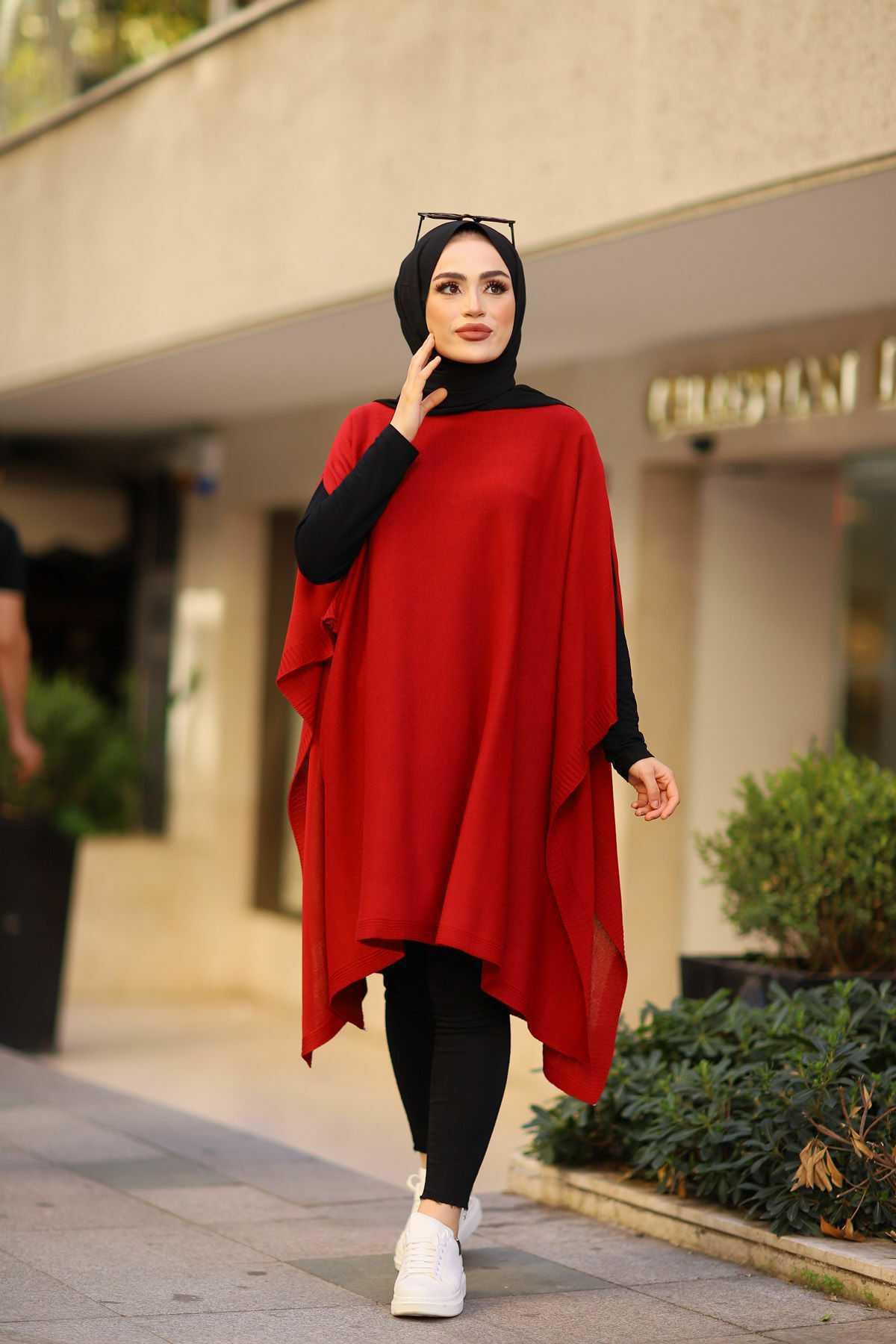 Eliza Moda Tesettür Kırmızı Triko Panço Modelleri