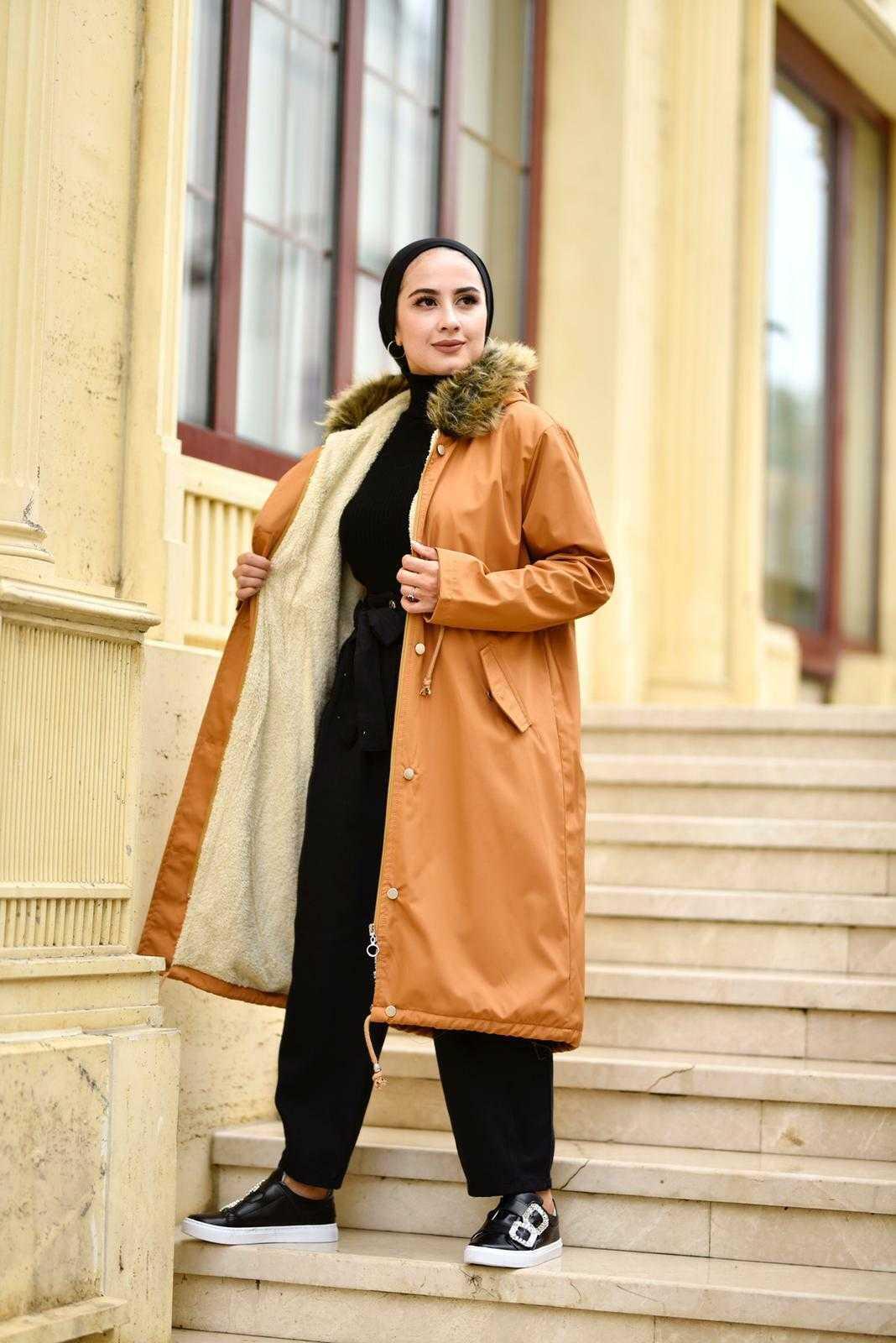 Eliza Moda Tesettür Peluş Kürklü Mont Modelleri