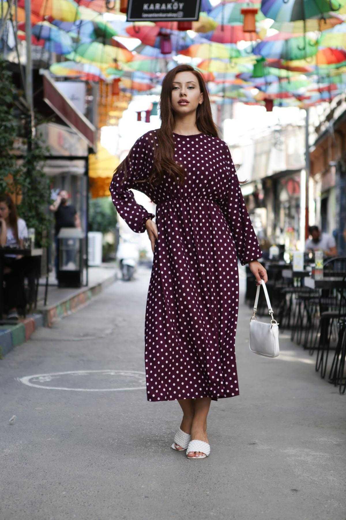 Elizamoda Puantiyeli Tesettür Elbise Modelleri