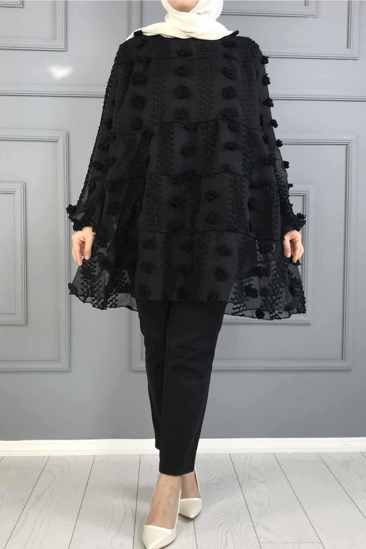 Ermi Tekstil Tesettür Ponponlu Tül Tunik Modelleri