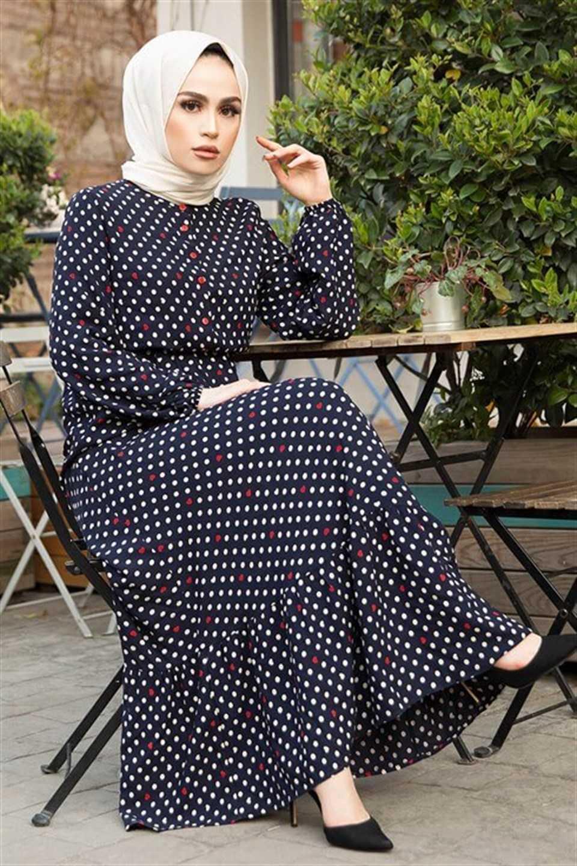 Modaperiy İki Renk Puantiyeli Tesettür Elbise Modelleri