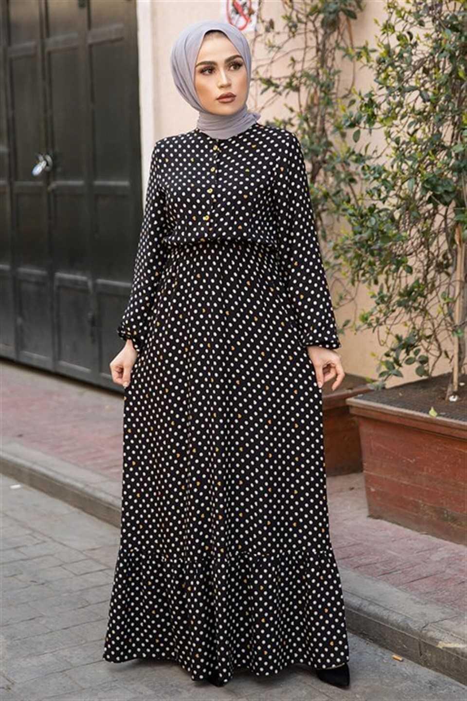 Modaperiy Puantiyeli Tesettür Elbise Modelleri