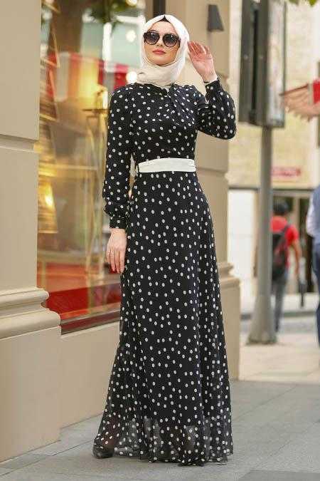 Nayla Collection Puantiyeli Tesettür Elbise Modelleri