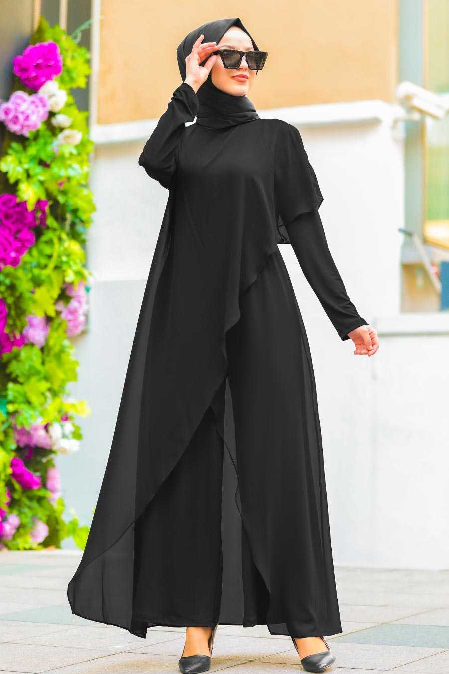 Neva Style Siyah Tül Tesettür Tulum Modelleri