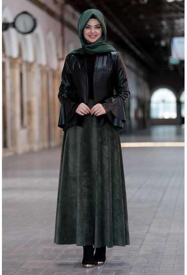 Pınar Şems Tesettür Deri Ceket Modası
