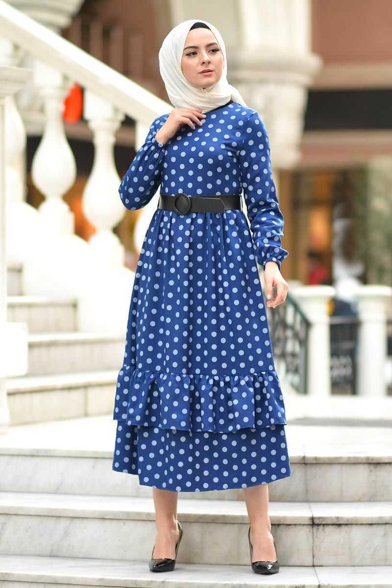 Tesettür Dünyası Puantiyeli Fırfırlı Elbise Modelleri