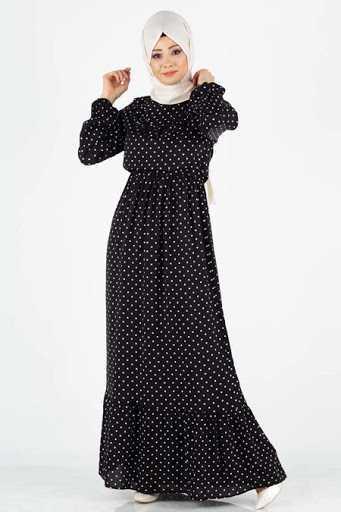 Tesettür Pazarı Puantiyeli Elbise Modelleri