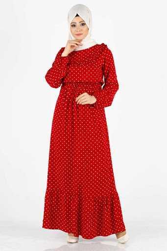 Tesettür Pazarı Puantiyeli Kırmızı Elbise Modelleri