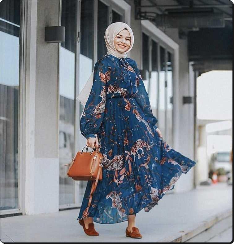2020 Tesettür Desenli Elbise Modası