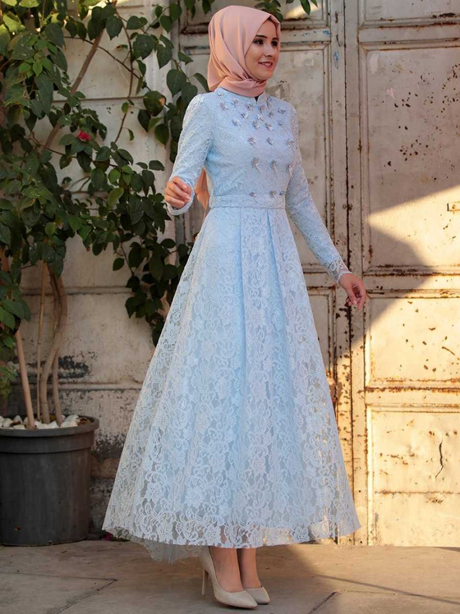 Amine Hüma Dantelli Bebe Mavisi Tesettür Abiye Elbise Modelleri