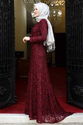 Amine Hüma Dantelli Tesettür Abiye Elbise Modelleri