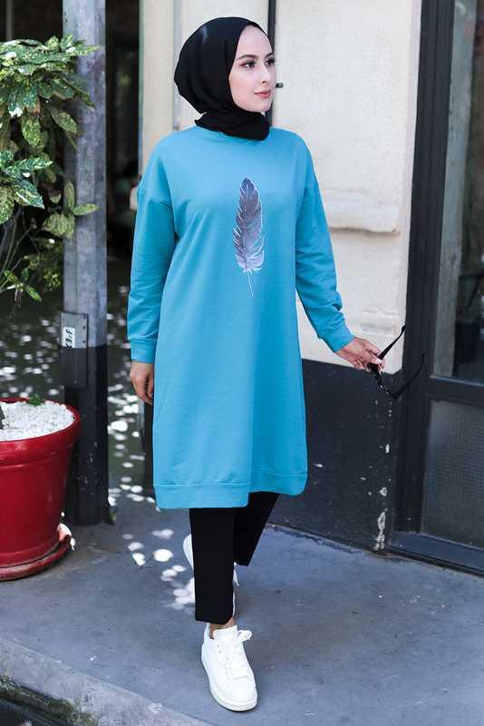 Arya Moda Tüy Baskılı Tesettür Sweatshirt Modelleri