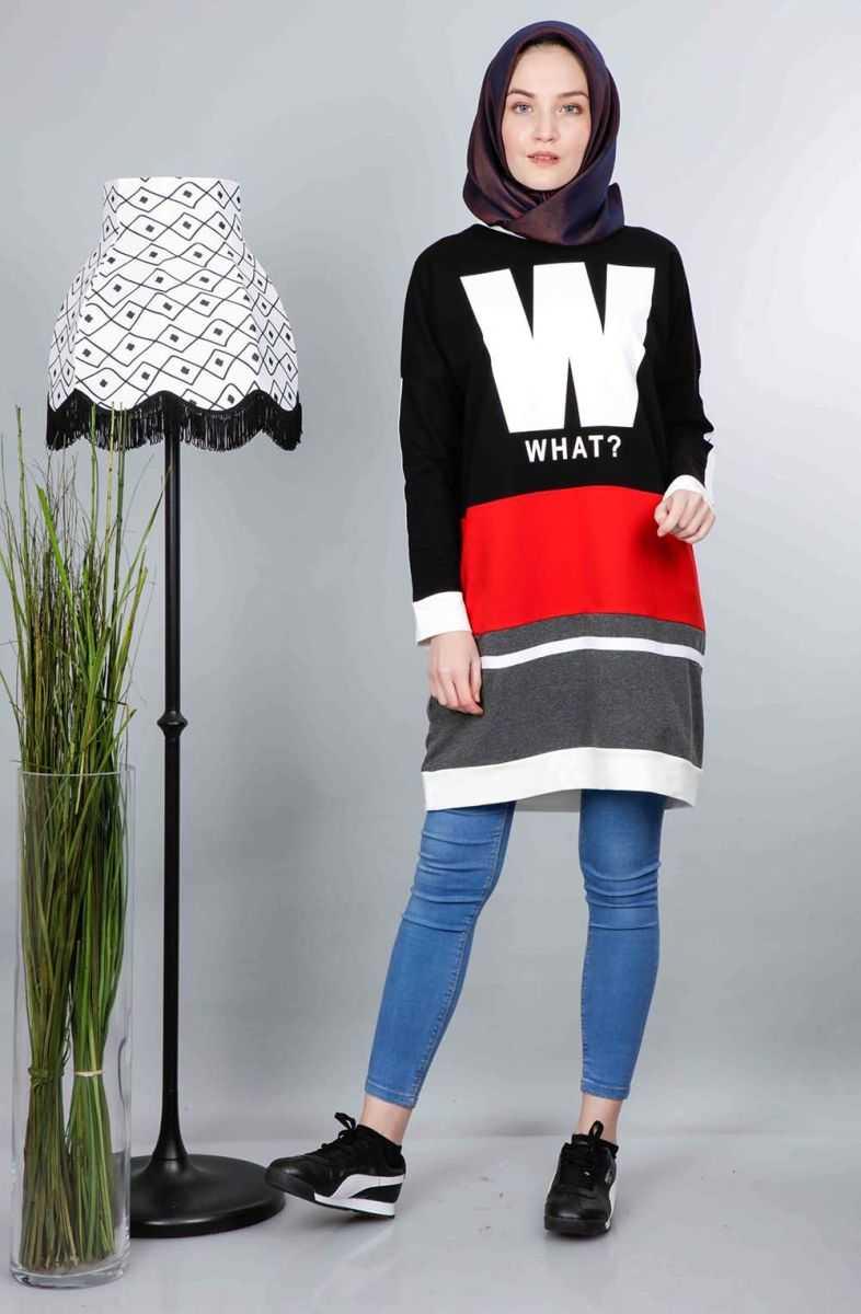 Cty Baskılı Tesettür Sweatshirt Modelleri