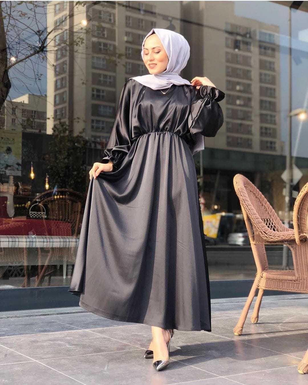Elifce Butik Tesettür Saten Elbise Modelleri