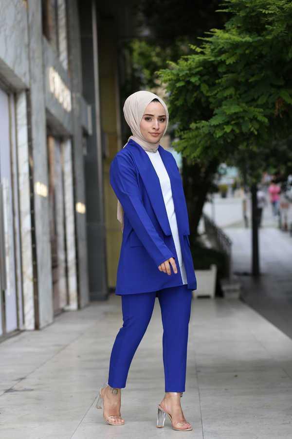 Hf Moda Tesettür Mavi Pantolon Ceket Spor Takımlar