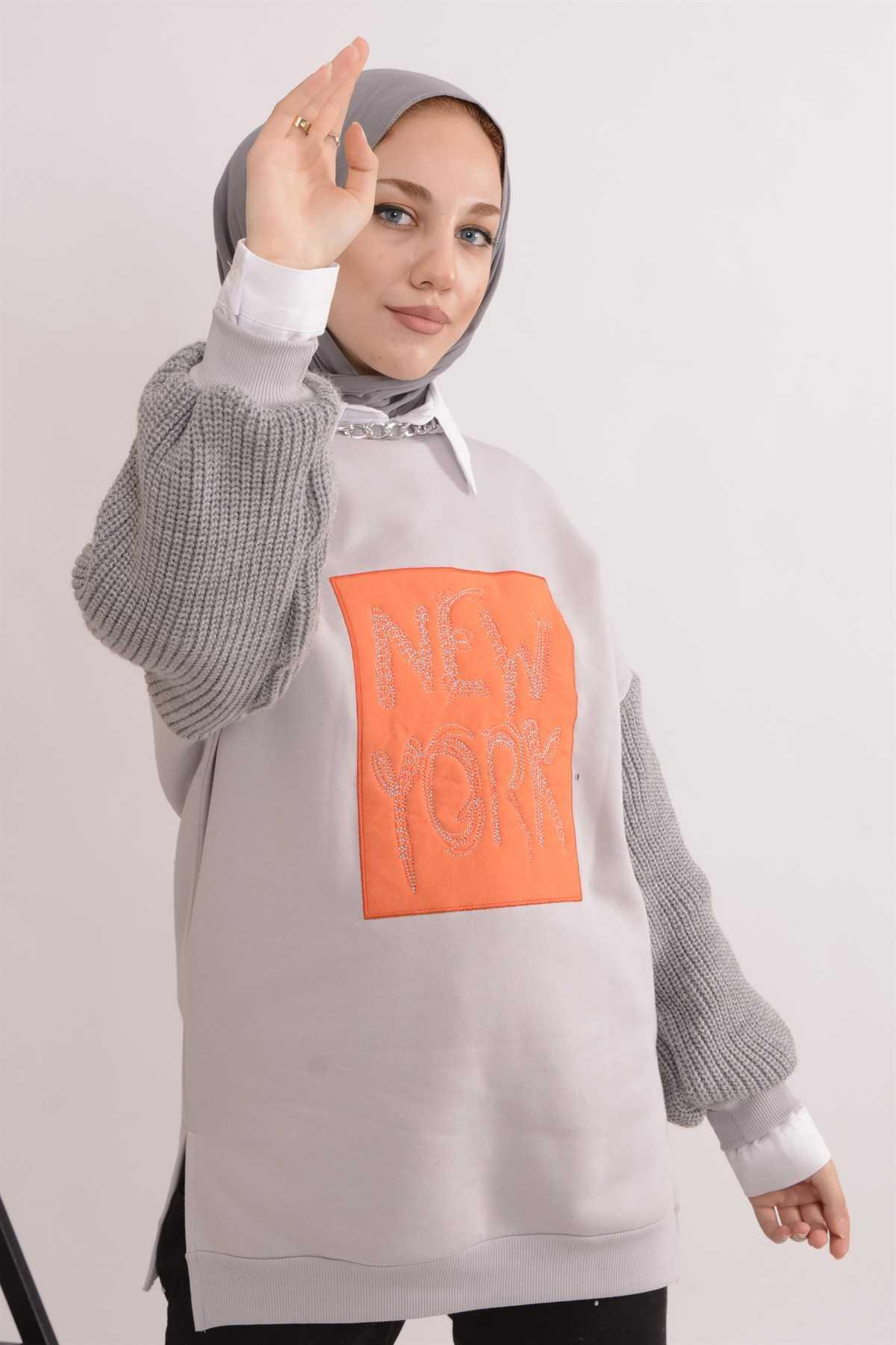 Koçin Butik Yazı Baskılı Tesettür Sweatshirt Modelleri