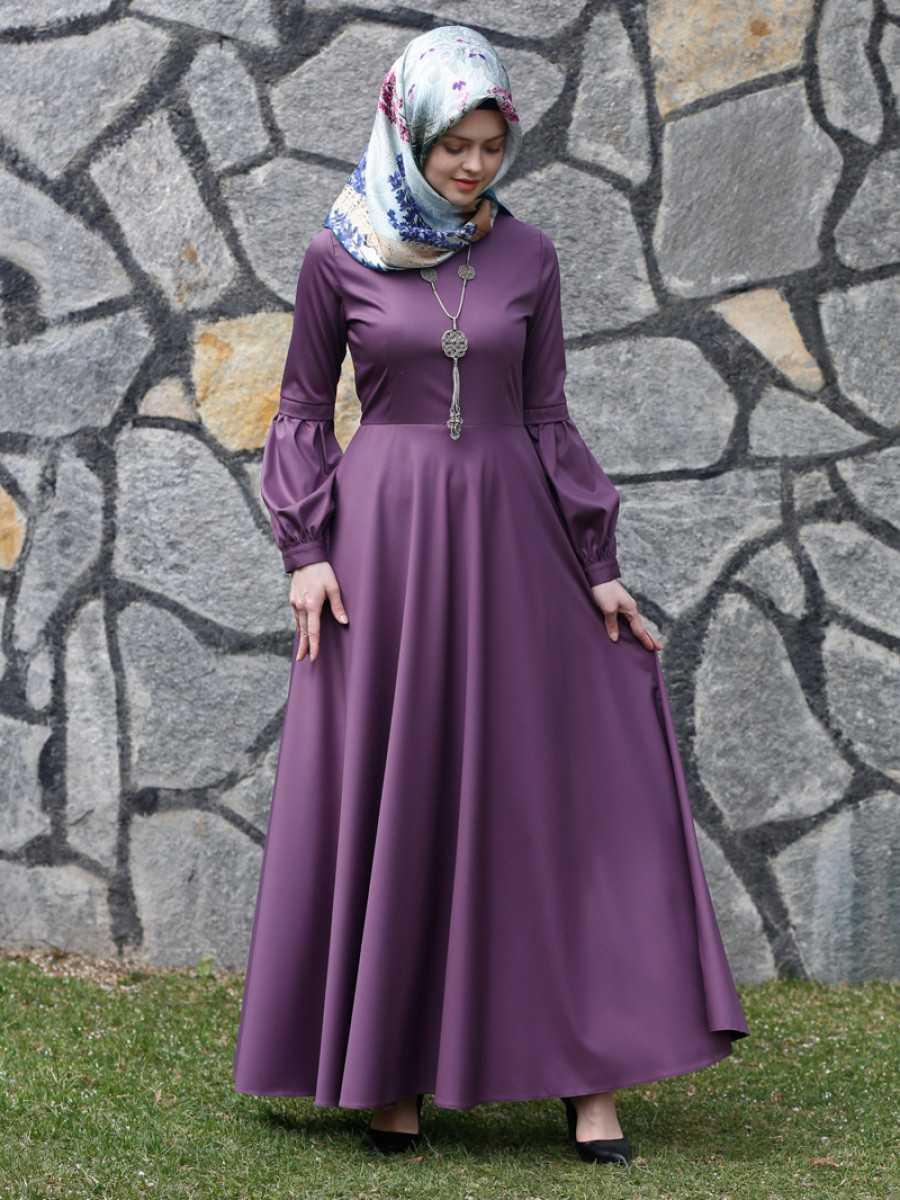 Kübra Biriktir Tesettür Kloş Elbise Modelleri