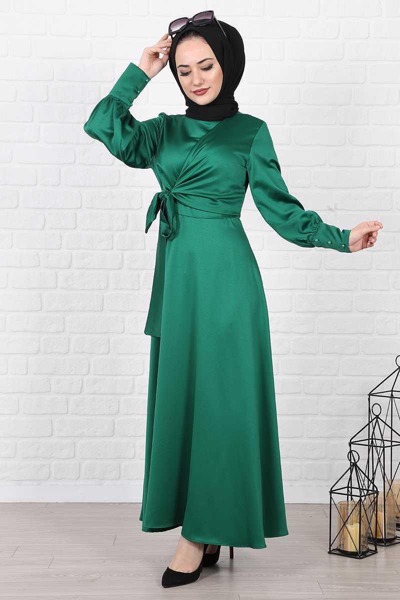 Lamia Giyim Tesettür Saten Elbise Modelleri