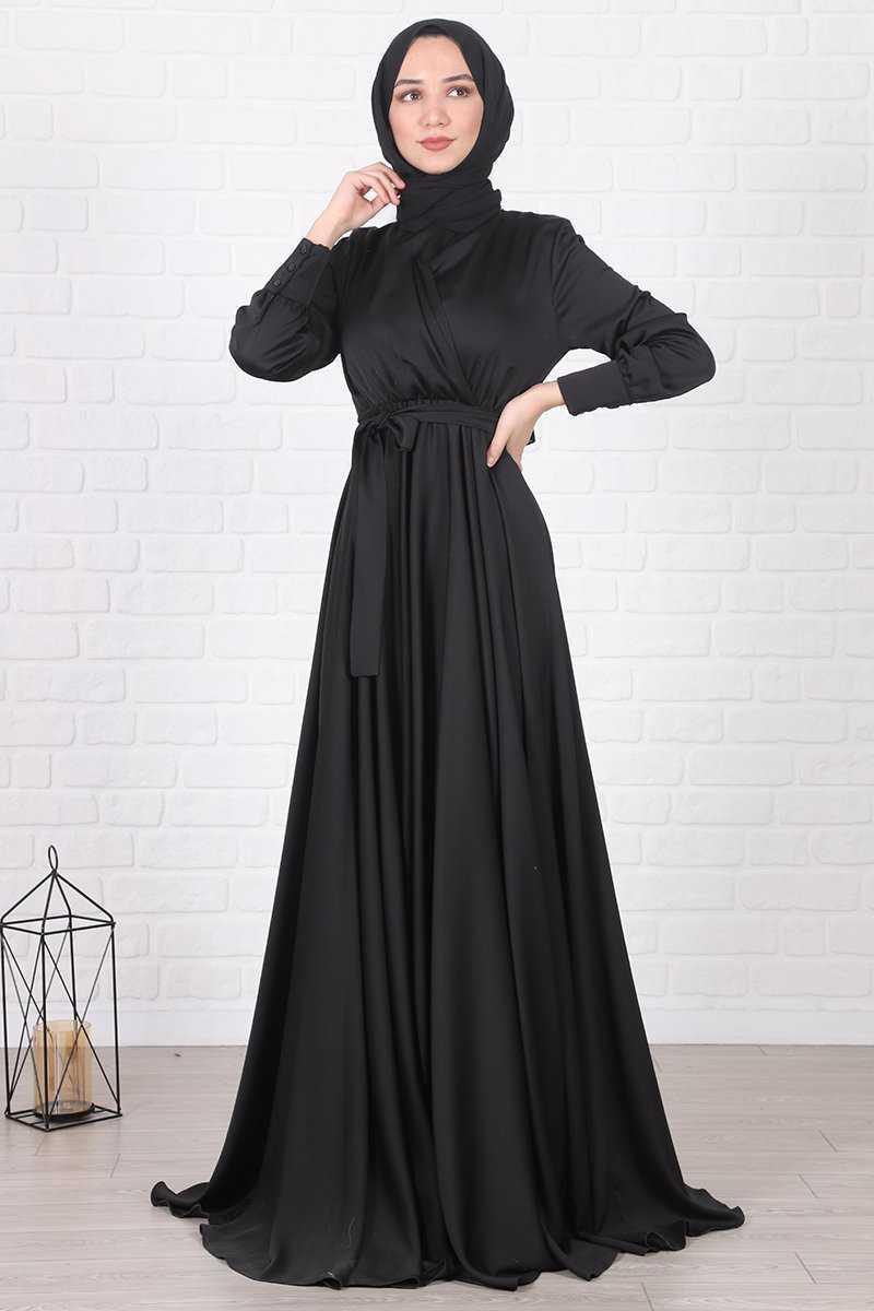 Lamia Giyim Tesettür Siyah Saten Elbise Modelleri