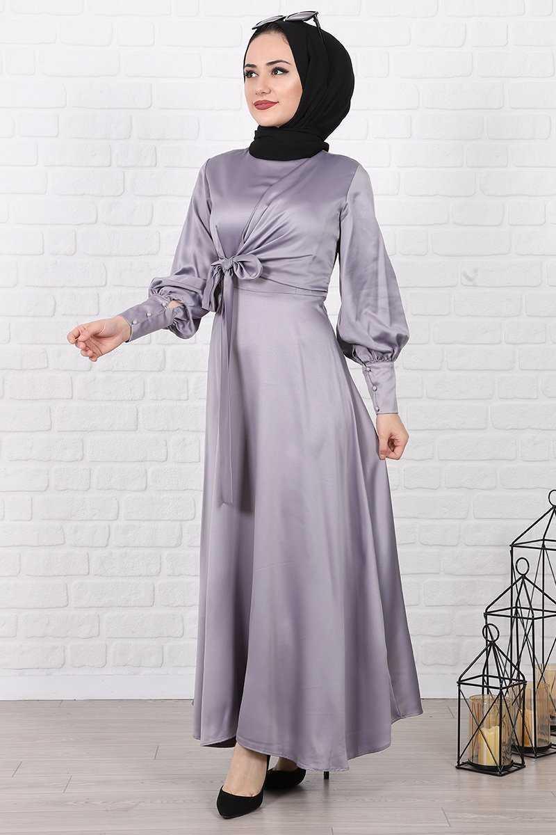 Lamia Giyim Yandan Bağlamalı Tesettür Saten Elbise Modelleri
