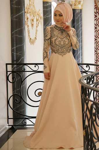 Minel Aşk Taşlı Tesettür Abiye Elbise Modelleri