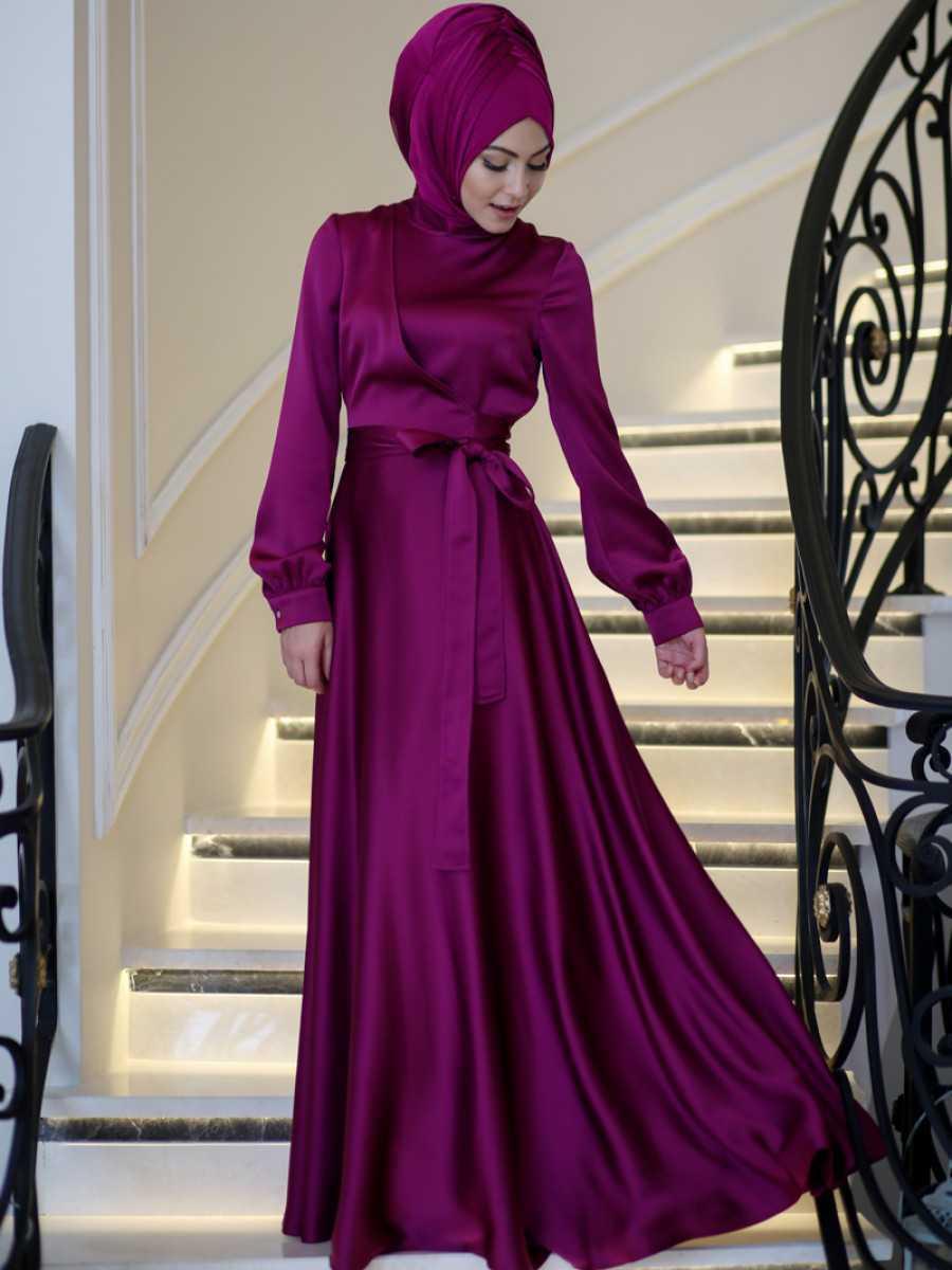 Minel Aşk Tesettür Saten Elbise Modelleri