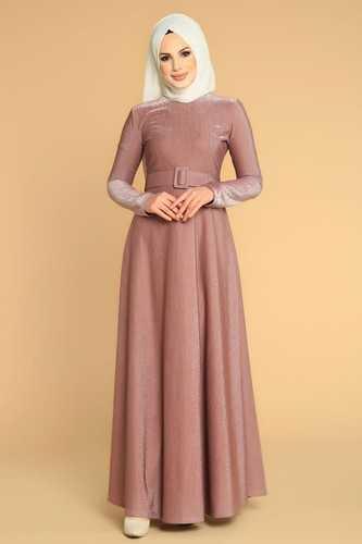Moda Ebva Tesettür Kemerli Kloş Elbise Modelleri