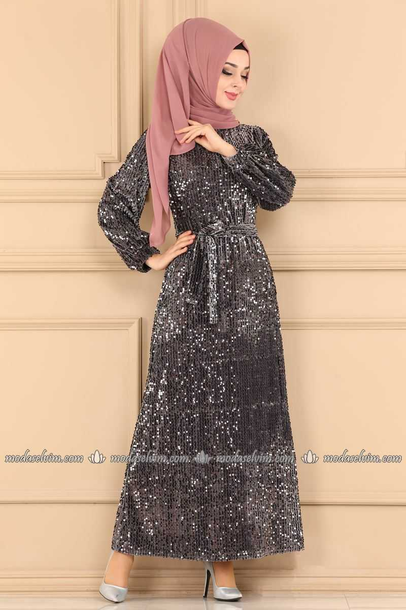 Moda Selvim Pul Payetli Tesettür Abiye Elbise Modelleri