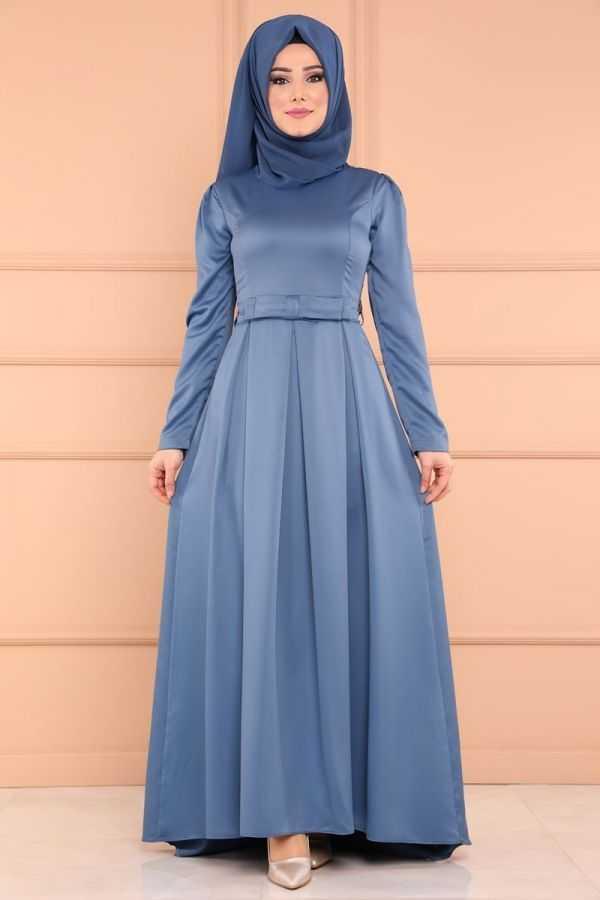 Moda Selvim Tesettür Pileli Saten Elbise Modelleri