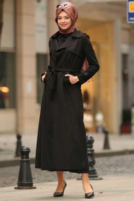 Nayla Collection Kemerli Tesettür Siyah Trençkot Modelleri