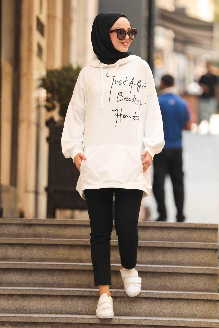 Neva Style Baskılı Tesettür Sweatshirt Modelleri