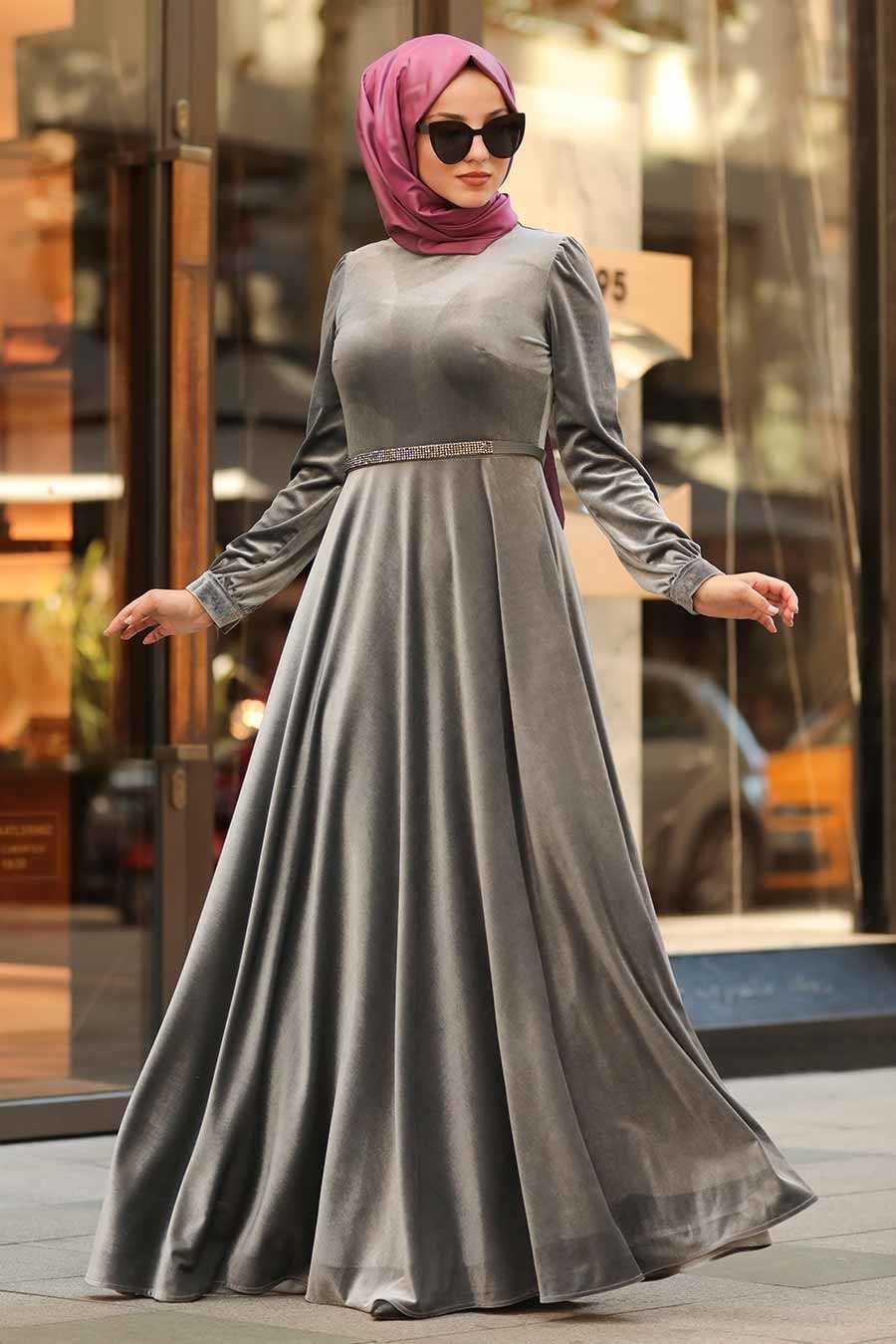 Neva Style Tesettür Kadife Kloş Elbise Modelleri