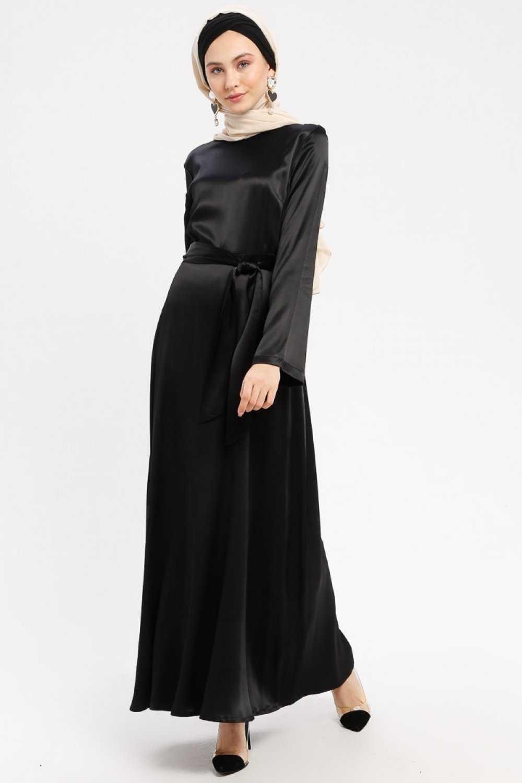 Peramood Tesettür Kuşaklı Saten Elbise Modelleri