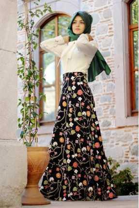 Pınar Şems Desenli Tesettür Uzun Etek Modelleri