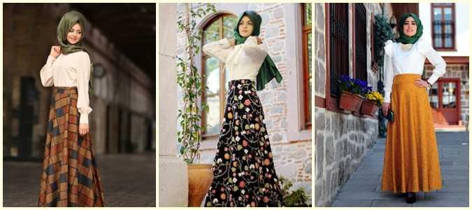 Pınar Şems Tesettür Desenli Uzun Etek Modelleri
