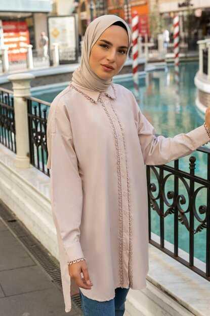 Refka Güpür Detaylı Tesettür Tunik Modelleri