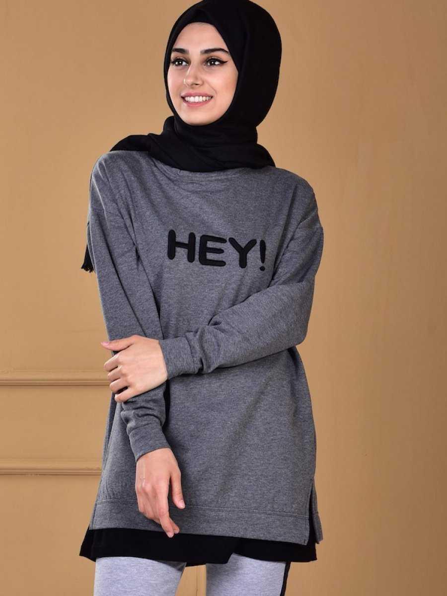 Sefamerve Baskılı Tesettür Spor Sweatshirt Modelleri