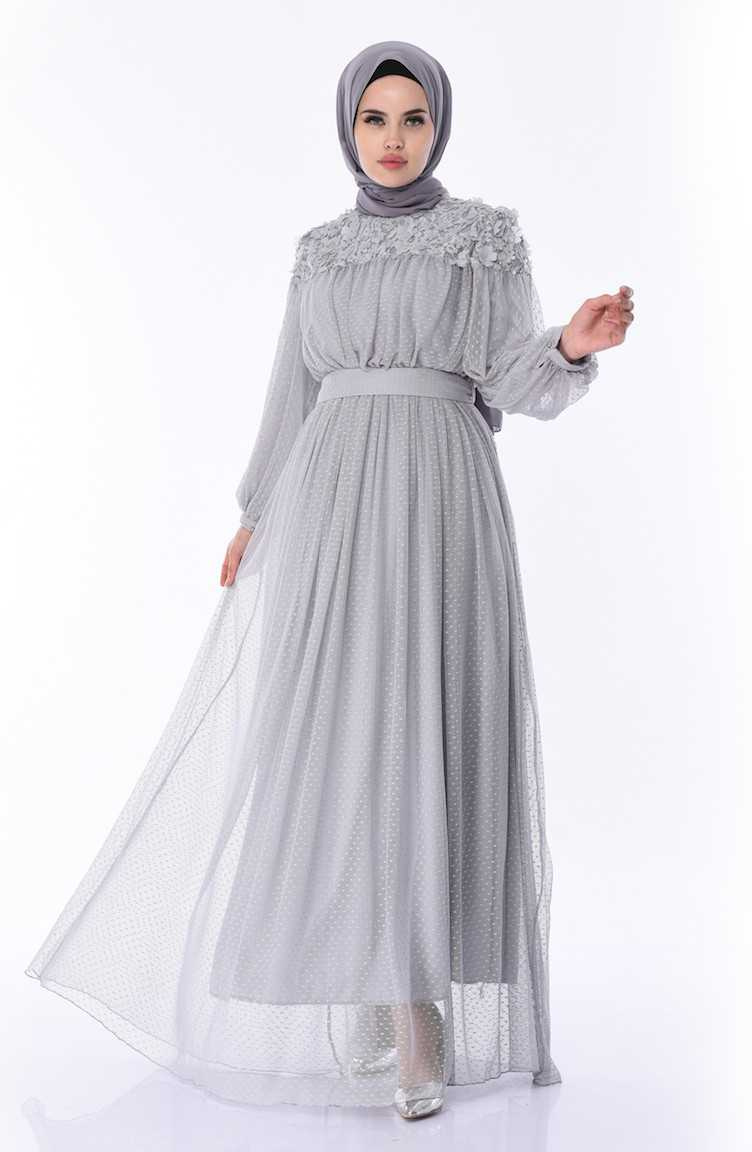 Sefamerve Tesettür Çiçek Aplikeli Tül Abiye Elbise Modelleri