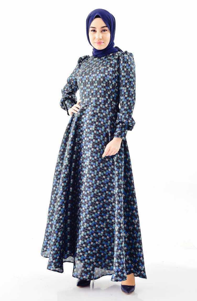 Sefamerve Tesettür Desenli Şık Kloş Elbise Modelleri