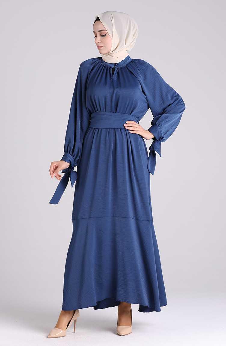 Sefamerve Tesettür Kuşaklı Saten Elbise Modelleri
