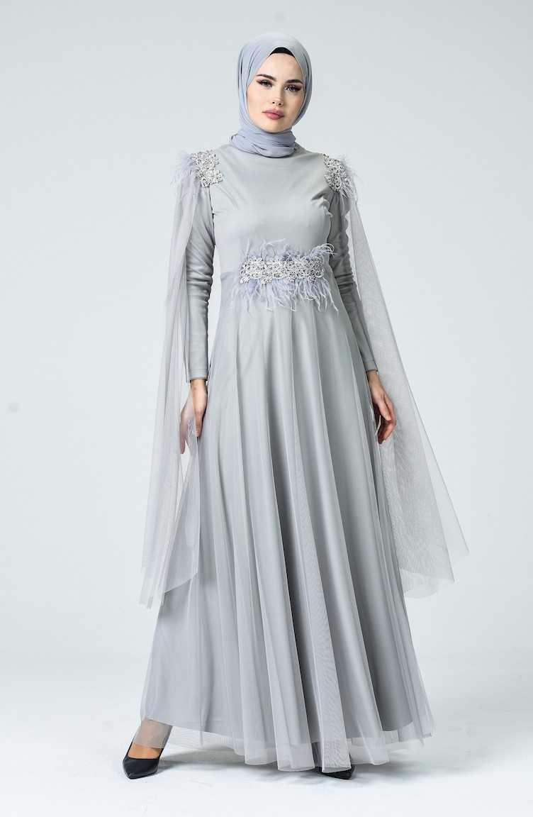 Sefamerve Tesettür Tül Abiye Elbise Modelleri