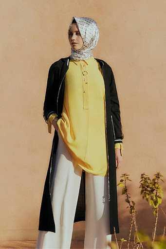 Zühre Tesettür Sarı Tunik Modelleri