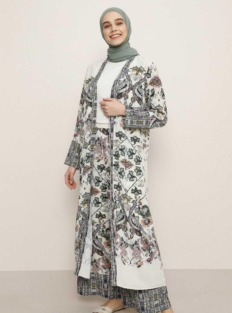 Benin Tesettür Etekli Kimono Takım Modelleri