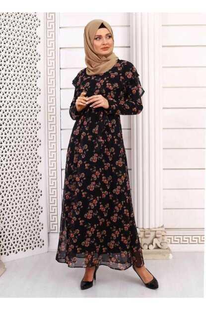 Burcu Tesettür Desenli Şifon Elbise Modelleri