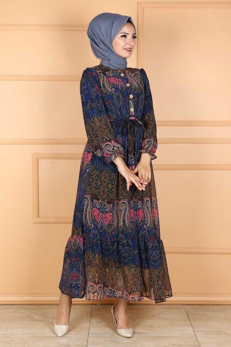 Eymina Tesettür Desenli Şifon Elbise Modelleri
