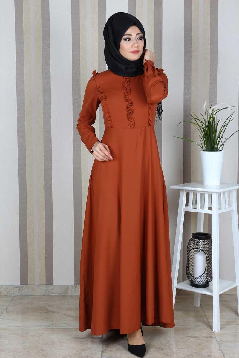 Eymina Tesettür Fırfırlı Boydan Elbise Modelleri