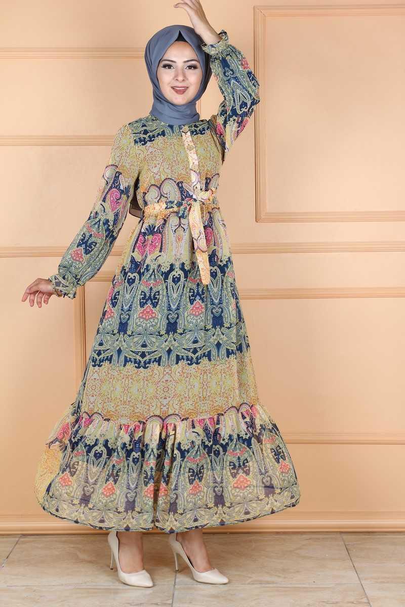 Eymina Tesettür Karma Desenli Şifon Elbise Modelleri