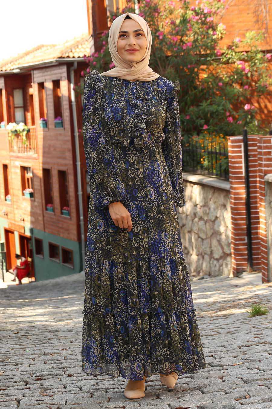 Feiza Collection Tesettür Desenli Şık Şifon Elbise Modelleri